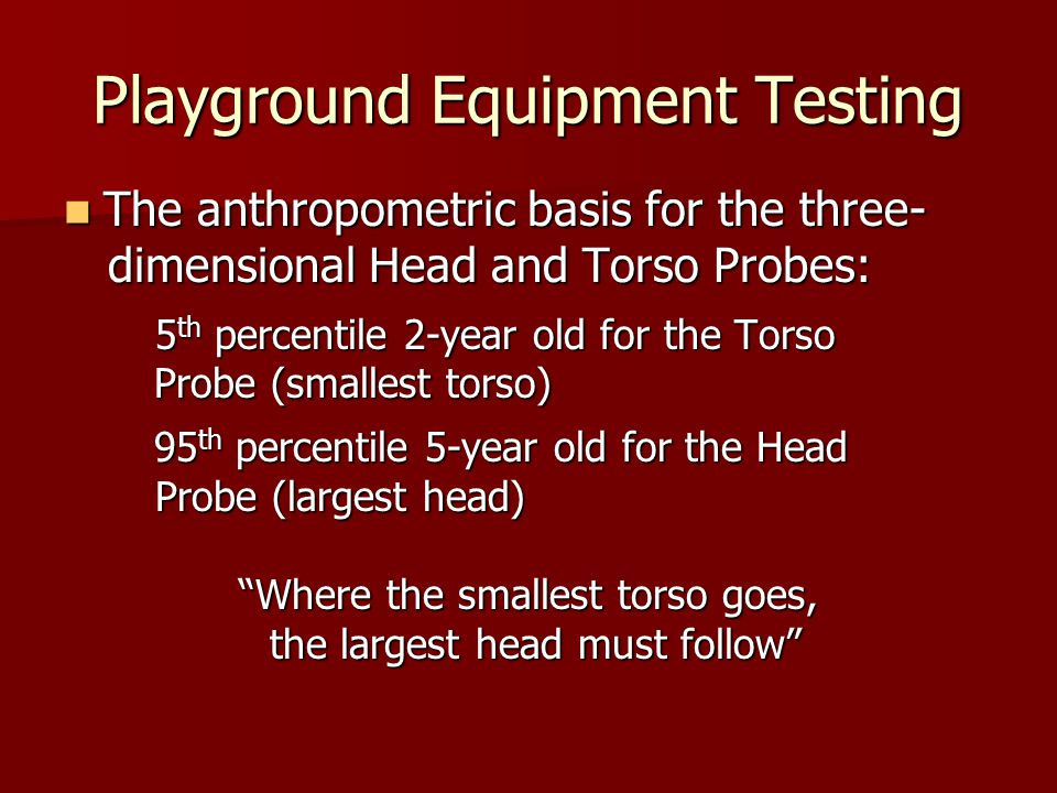 Playground Equipment Testing The anthropometric basis for the three- The anthropometric basis for the three- dimensional Head and Torso Probes: dimens