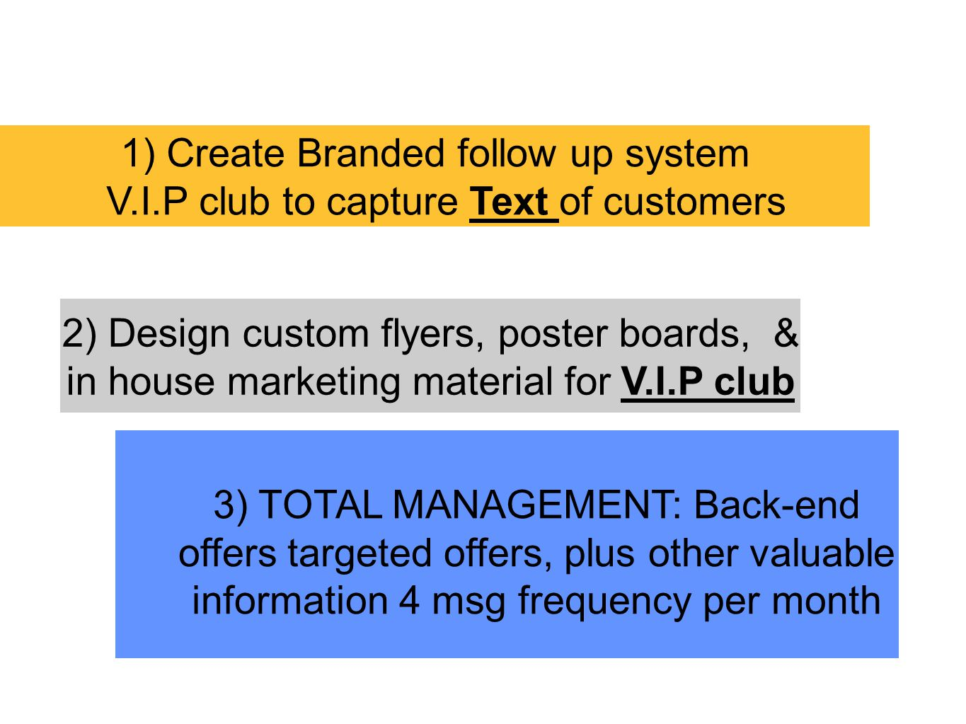 1) Create Branded follow up system V.I.P club to capture Text of customers 2) Design custom flyers, poster boards, & in house marketing material for V.I.P club 3) TOTAL MANAGEMENT: Back-end offers targeted offers, plus other valuable information 4 msg frequency per month