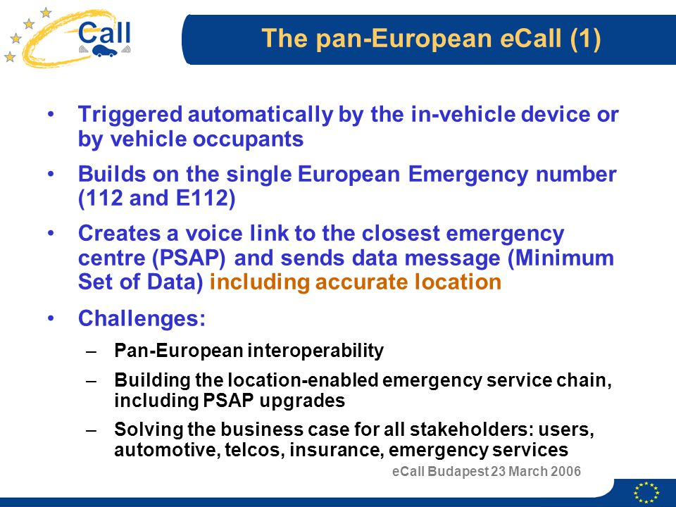 eCall Budapest 23 March 2006 The pan-European eCall (1) Triggered automatically by the in-vehicle device or by vehicle occupants Builds on the single European Emergency number (112 and E112) Creates a voice link to the closest emergency centre (PSAP) and sends data message (Minimum Set of Data) including accurate location Challenges: –Pan-European interoperability –Building the location-enabled emergency service chain, including PSAP upgrades –Solving the business case for all stakeholders: users, automotive, telcos, insurance, emergency services