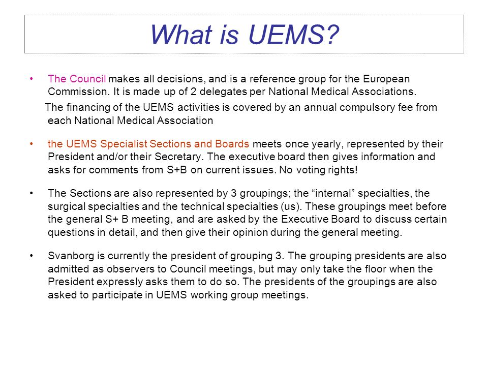 What is a UEMS section.