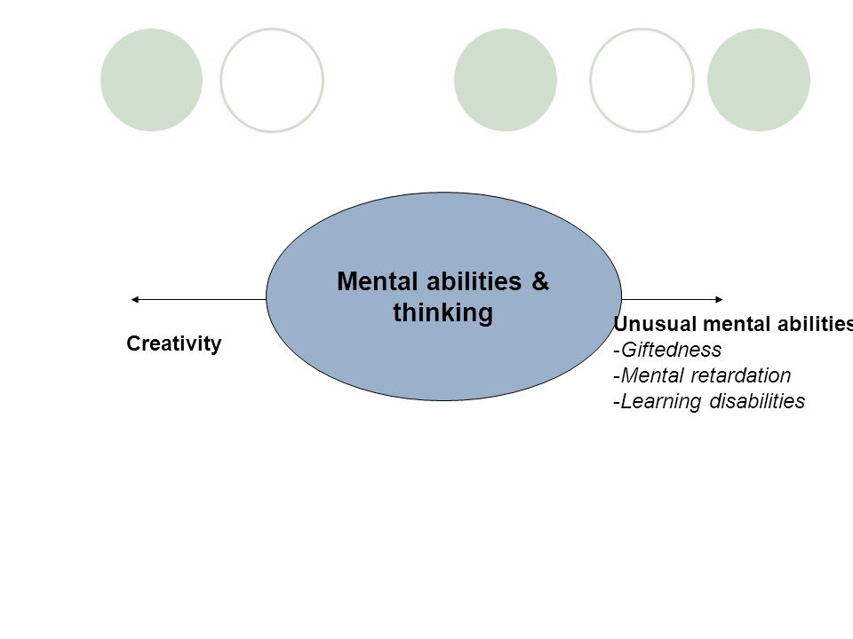Mental abilities & thinking Creativity Unusual mental abilities: -Giftedness -Mental retardation -Learning disabilities