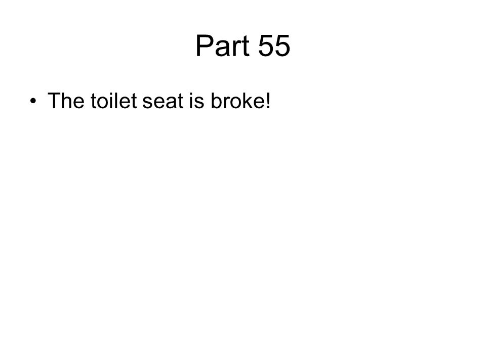 Part 55 The toilet seat is broke!
