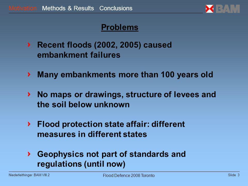 "Slide 14Niederleithinger BAM VIII.2 Flood Defence 2008 Toronto Test Site Löbnitz Rapid reconaissance methods Induction EM (BfG Lorenz, U Köln) Geoelektrics ""pulled array (IGM/IRIS) GPR-Array (GBM) Content Motivation Methods & Results Outlook"