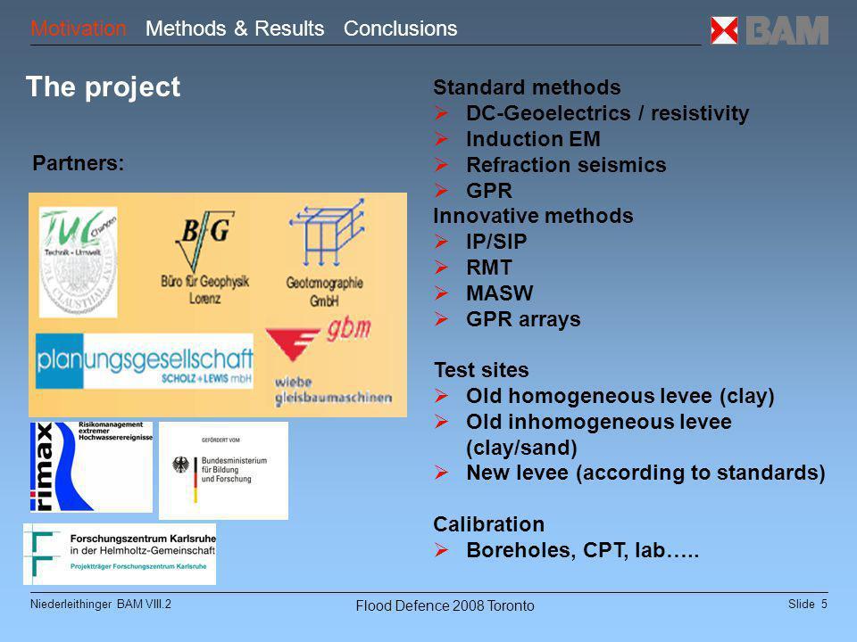 Slide 6Niederleithinger BAM VIII.2 Flood Defence 2008 Toronto Test Sites Motivation Methods & Results Conclusions Friedersdorf Löbnitz Torgau