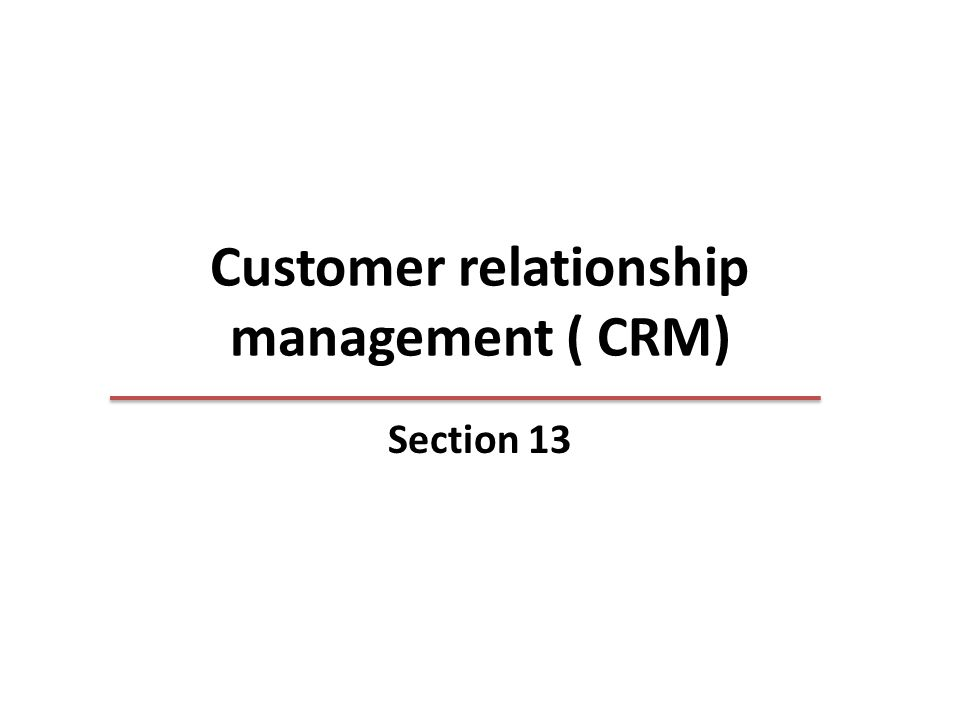 Customer relationship management ( CRM) Section 13