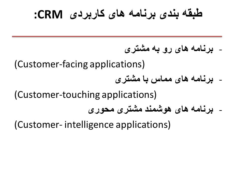 :CRM طبقه بندی برنامه های کاربردی - برنامه های رو به مشتری (Customer-facing applications) - برنامه های مماس با مشتری (Customer-touching applications) - برنامه های هوشمند مشتری محوری (Customer- intelligence applications)