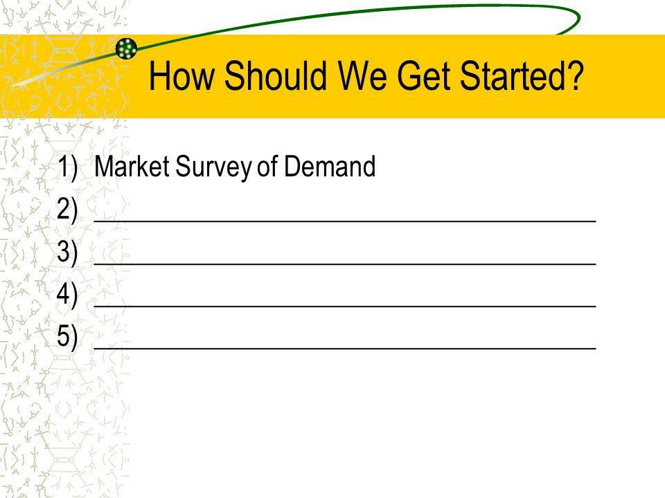 How Should We Get Started? 1)Market Survey of Demand 2)_____________________________________ 3)_____________________________________ 4)_______________