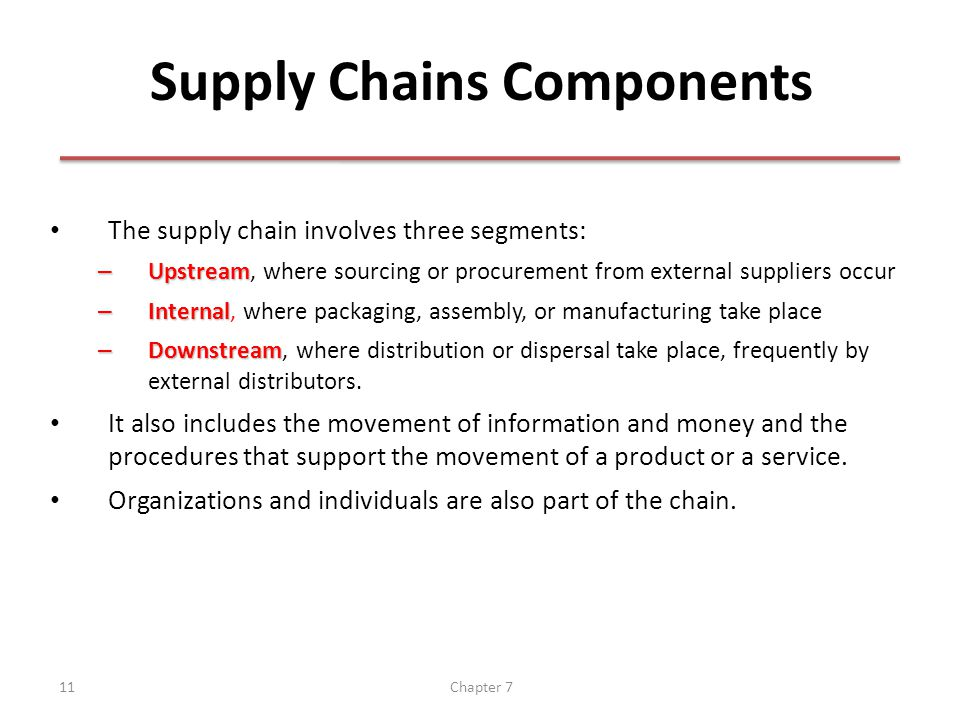 Chapter 711 Supply Chains Components The supply chain involves three segments: – Upstream – Upstream, where sourcing or procurement from external suppliers occur – Internal – Internal, where packaging, assembly, or manufacturing take place – Downstream – Downstream, where distribution or dispersal take place, frequently by external distributors.