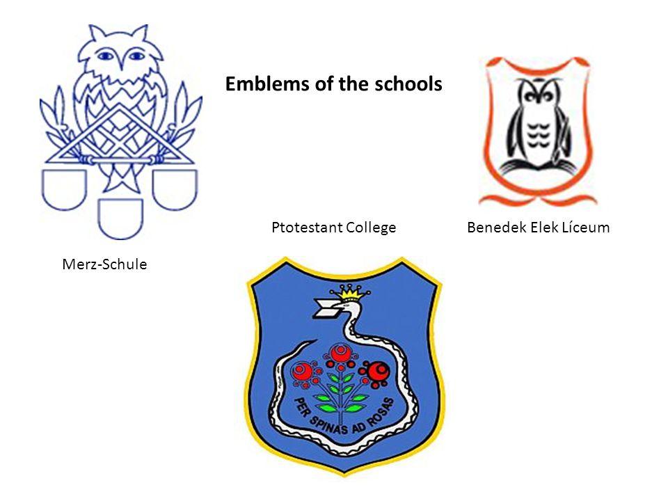 Ptotestant College Merz-Schule Benedek Elek Líceum Emblems of the schools