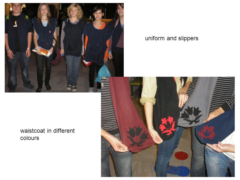 uniform and slippers waistcoat in different colours