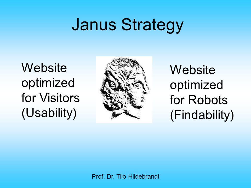 Prof. Dr. Tilo Hildebrandt Website optimized for Visitors (Usability) Website optimized for Robots (Findability) Janus Strategy
