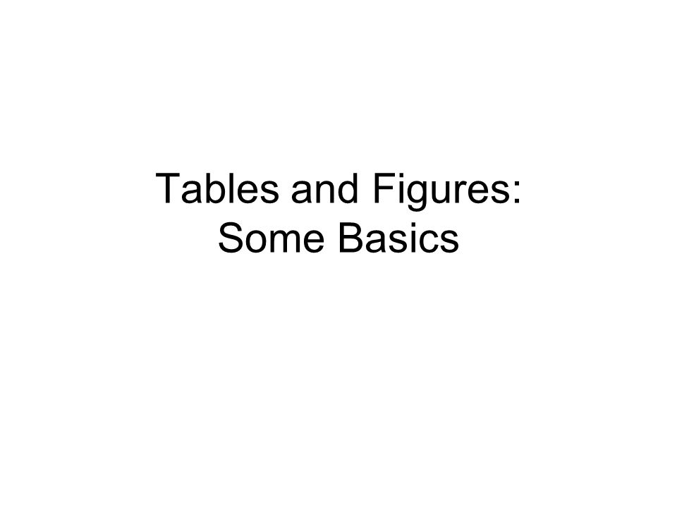 Tables and Figures: Some Basics