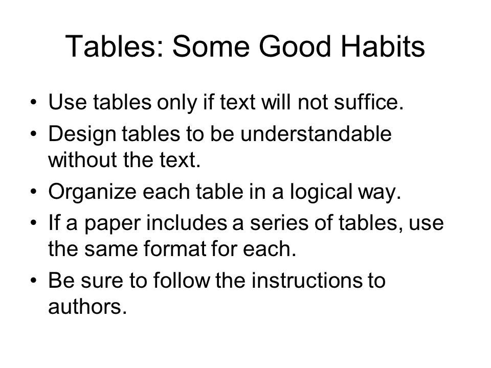 Tables: Some Good Habits Use tables only if text will not suffice. Design tables to be understandable without the text. Organize each table in a logic
