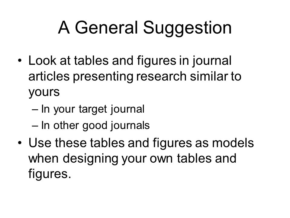 A General Suggestion Look at tables and figures in journal articles presenting research similar to yours –In your target journal –In other good journa