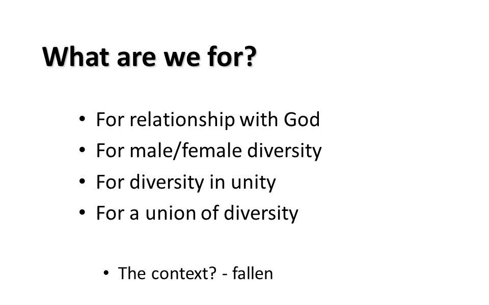 What are we for? For relationship with God For male/female diversity For diversity in unity For a union of diversity The context? - fallen
