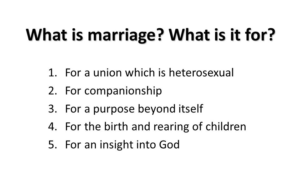 What is marriage? What is it for? 1.For a union which is heterosexual 2.For companionship 3.For a purpose beyond itself 4.For the birth and rearing of