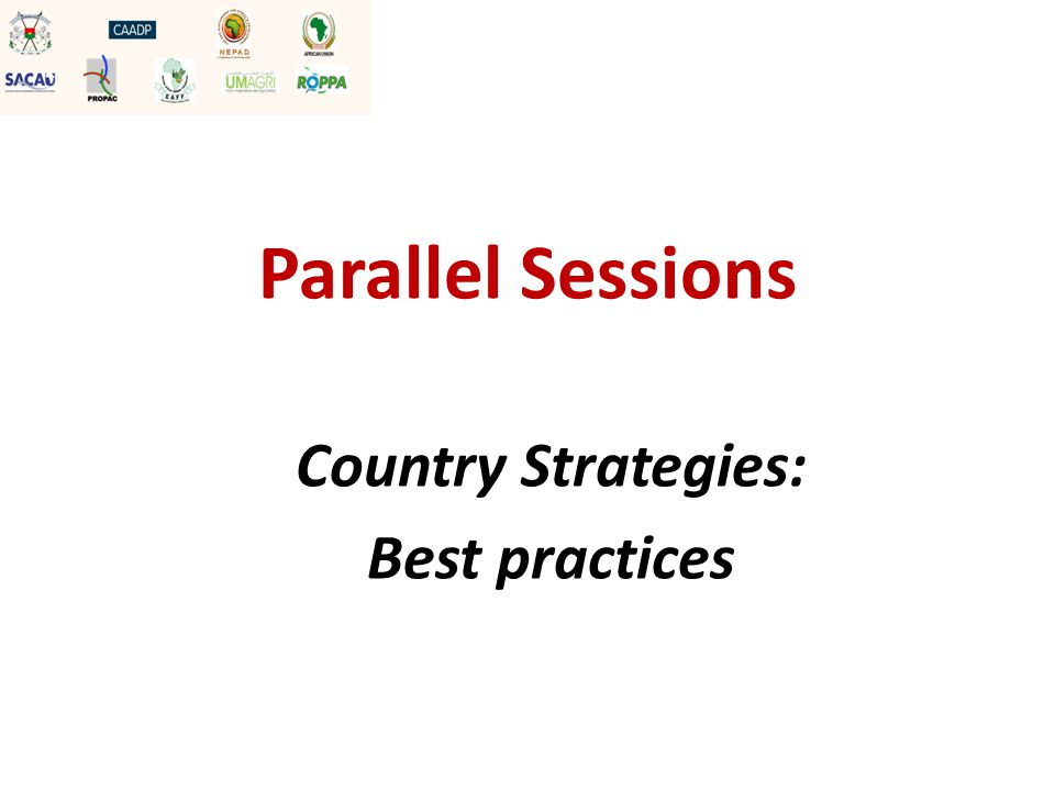 Parallel Sessions Country Strategies: Best practices