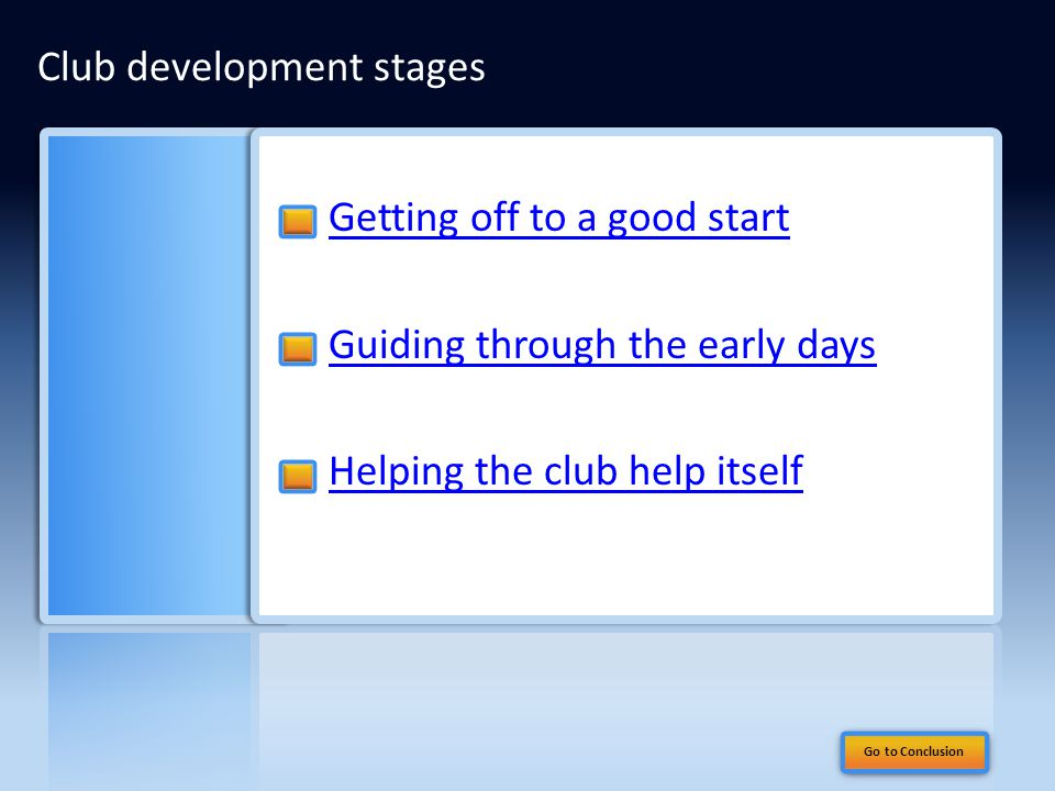 Getting off to a good start Guiding through the early days Helping the club help itself Club development stages Go to Conclusion