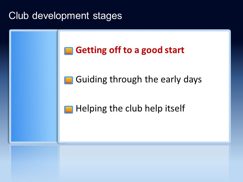 Getting off to a good start Guiding through the early days Helping the club help itself Club development stages