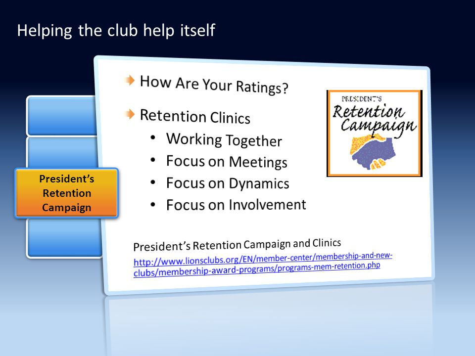 President's Retention Campaign Helping the club help itself