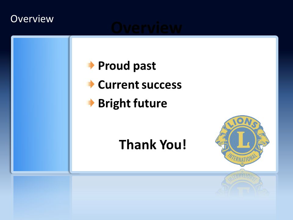 Overview Proud past Current success Bright future Thank You! Overview