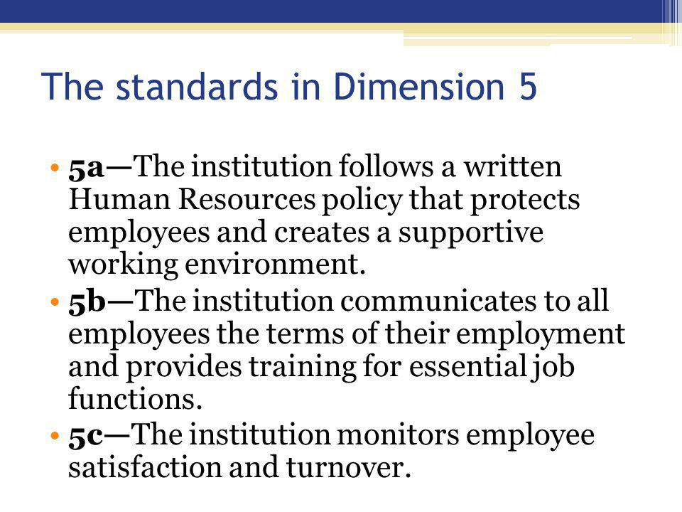 The standards in Dimension 5 5a—The institution follows a written Human Resources policy that protects employees and creates a supportive working environment..
