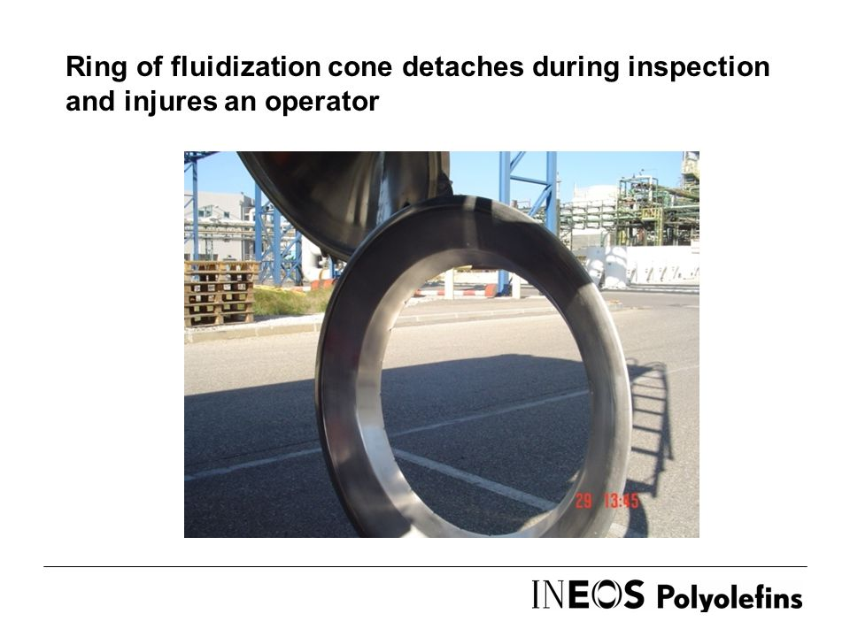 Ring of fluidization cone detaches during inspection and injures an operator