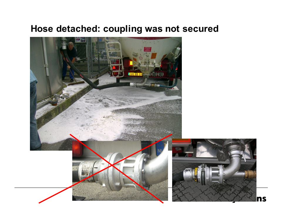 Hose detached: coupling was not secured