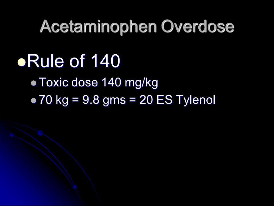Acetaminophen Overdose Rule of 140 Rule of 140 Toxic dose 140 mg/kg Toxic dose 140 mg/kg 70 kg = 9.8 gms = 20 ES Tylenol 70 kg = 9.8 gms = 20 ES Tylenol
