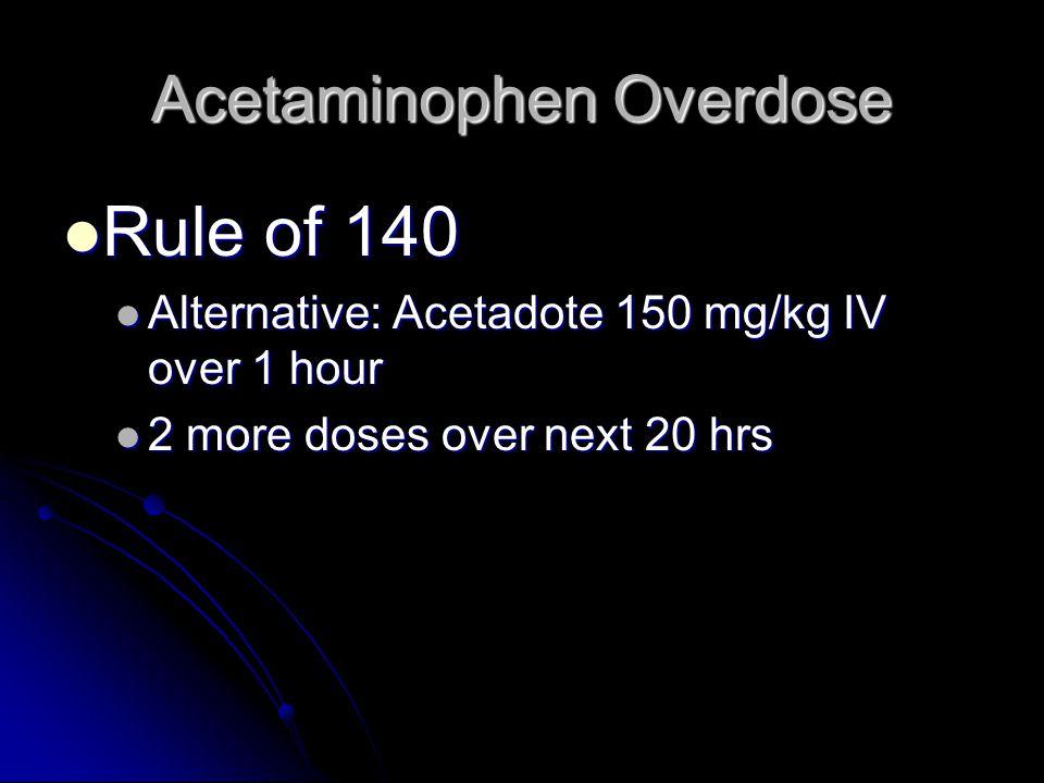 Acetaminophen Overdose Rule of 140 Rule of 140 Alternative: Acetadote 150 mg/kg IV over 1 hour Alternative: Acetadote 150 mg/kg IV over 1 hour 2 more doses over next 20 hrs 2 more doses over next 20 hrs
