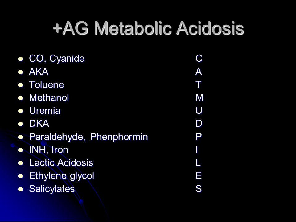 +AG Metabolic Acidosis CO, CyanideC CO, CyanideC AKAA AKAA TolueneT TolueneT MethanolM MethanolM UremiaU UremiaU DKAD DKAD Paraldehyde, PhenphorminP Paraldehyde, PhenphorminP INH, IronI INH, IronI Lactic AcidosisL Lactic AcidosisL Ethylene glycolE Ethylene glycolE SalicylatesS SalicylatesS