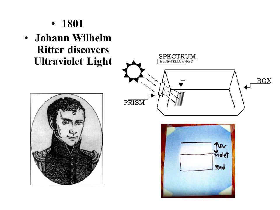 1801 Johann Wilhelm Ritter discovers Ultraviolet Light
