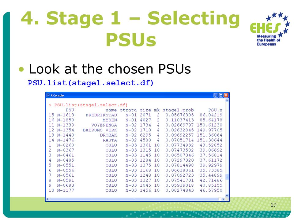 19 4. Stage 1 – Selecting PSUs Look at the chosen PSUs PSU.list(stage1.select.df)