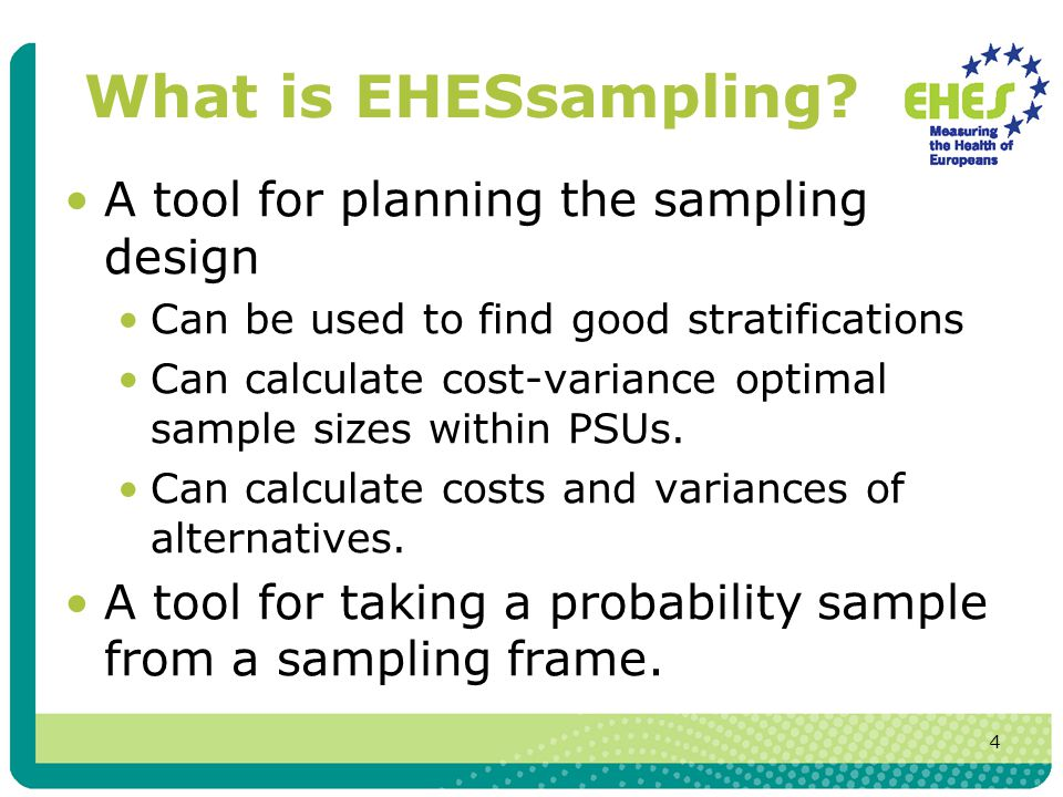 5 Using EHESsampling The EHESsampling manualmanual Before using EHESsampling you have to prepare some input datasets from the main sampling frame.