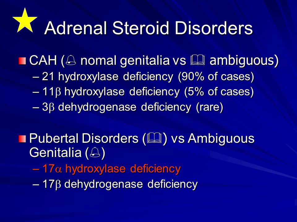 Adrenal Steroid Disorders CAH (% nomal genitalia vs & ambiguous) –21 hydroxylase deficiency (90% of cases) –11  hydroxylase deficiency (5% of cases)