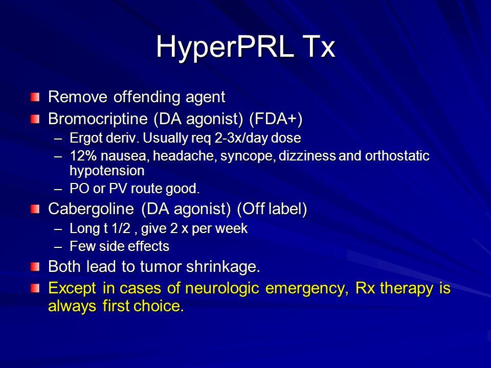 HyperPRL Tx Remove offending agent Bromocriptine (DA agonist) (FDA+) –Ergot deriv. Usually req 2-3x/day dose –12% nausea, headache, syncope, dizziness