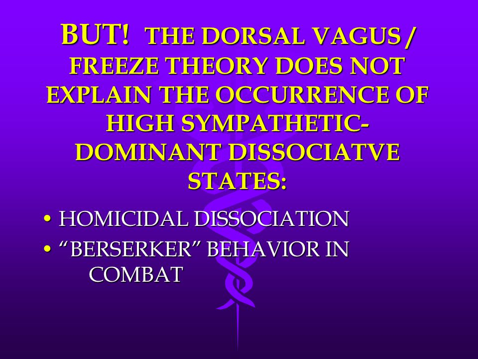 BUT! THE DORSAL VAGUS / FREEZE THEORY DOES NOT EXPLAIN THE OCCURRENCE OF HIGH SYMPATHETIC- DOMINANT DISSOCIATVE STATES: HOMICIDAL DISSOCIATIONHOMICIDA