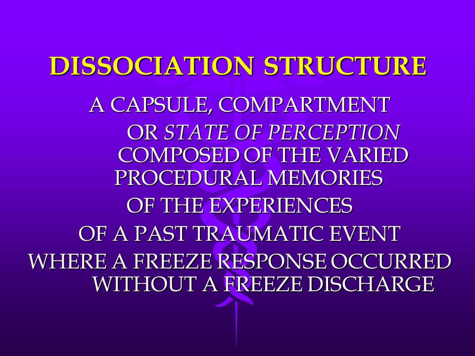 DISSOCIATION STRUCTURE A CAPSULE, COMPARTMENT OR STATE OF PERCEPTION COMPOSED OF THE VARIED PROCEDURAL MEMORIES OF THE EXPERIENCES OF A PAST TRAUMATIC EVENT WHERE A FREEZE RESPONSE OCCURRED WITHOUT A FREEZE DISCHARGE