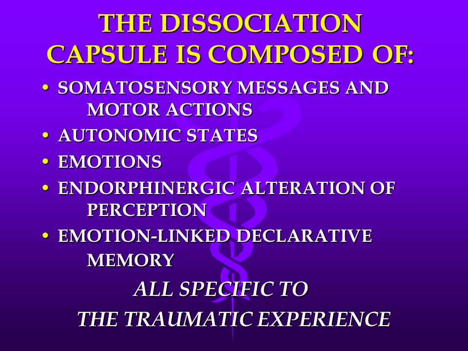 THE DISSOCIATION CAPSULE IS COMPOSED OF: SOMATOSENSORY MESSAGES AND MOTOR ACTIONS SOMATOSENSORY MESSAGES AND MOTOR ACTIONS AUTONOMIC STATES AUTONOMIC STATES EMOTIONS EMOTIONS ENDORPHINERGIC ALTERATION OF PERCEPTION ENDORPHINERGIC ALTERATION OF PERCEPTION EMOTION-LINKED DECLARATIVE MEMORY EMOTION-LINKED DECLARATIVE MEMORY ALL SPECIFIC TO THE TRAUMATIC EXPERIENCE