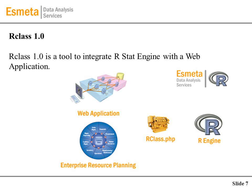 Rclass 1.0 Rclass 1.0 is a tool to integrate R Stat Engine with a Web Application. Slide 7