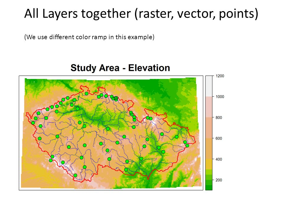 All Layers together (raster, vector, points) (We use different color ramp in this example)