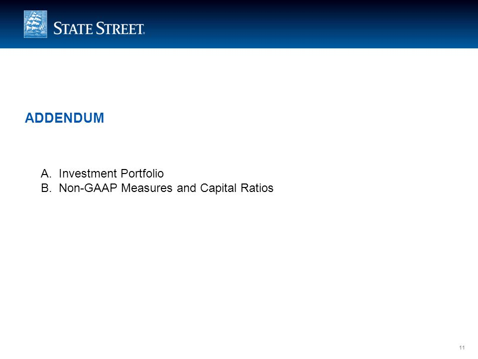 LIMITED ACCESS 11 ADDENDUM A.Investment Portfolio B.Non-GAAP Measures and Capital Ratios 11