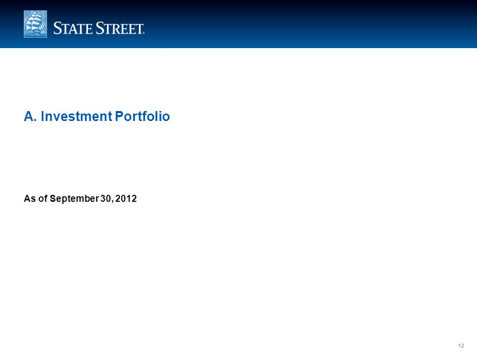 LIMITED ACCESS 12 A. Investment Portfolio As of September 30, 2012 12