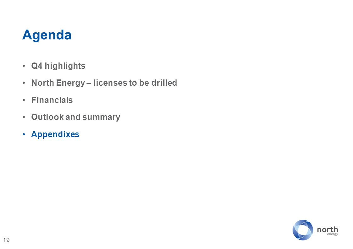 Agenda Q4 highlights North Energy – licenses to be drilled Financials Outlook and summary Appendixes 19