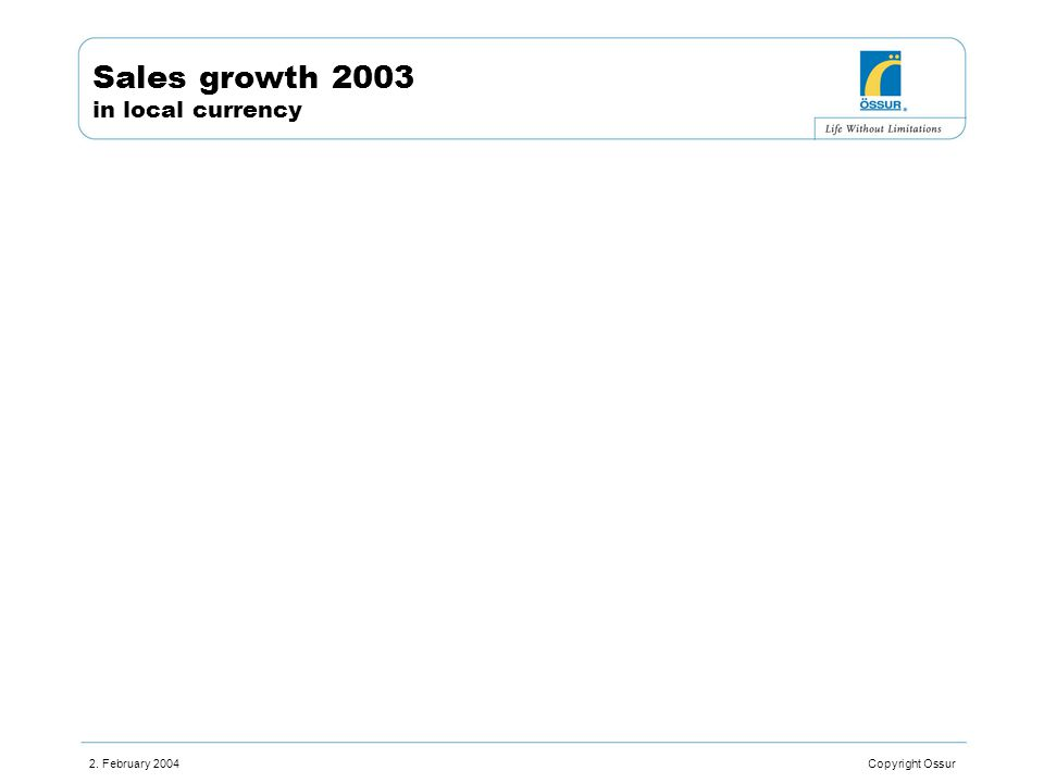 2. February 2004 Copyright Ossur Sales growth 2003 in local currency