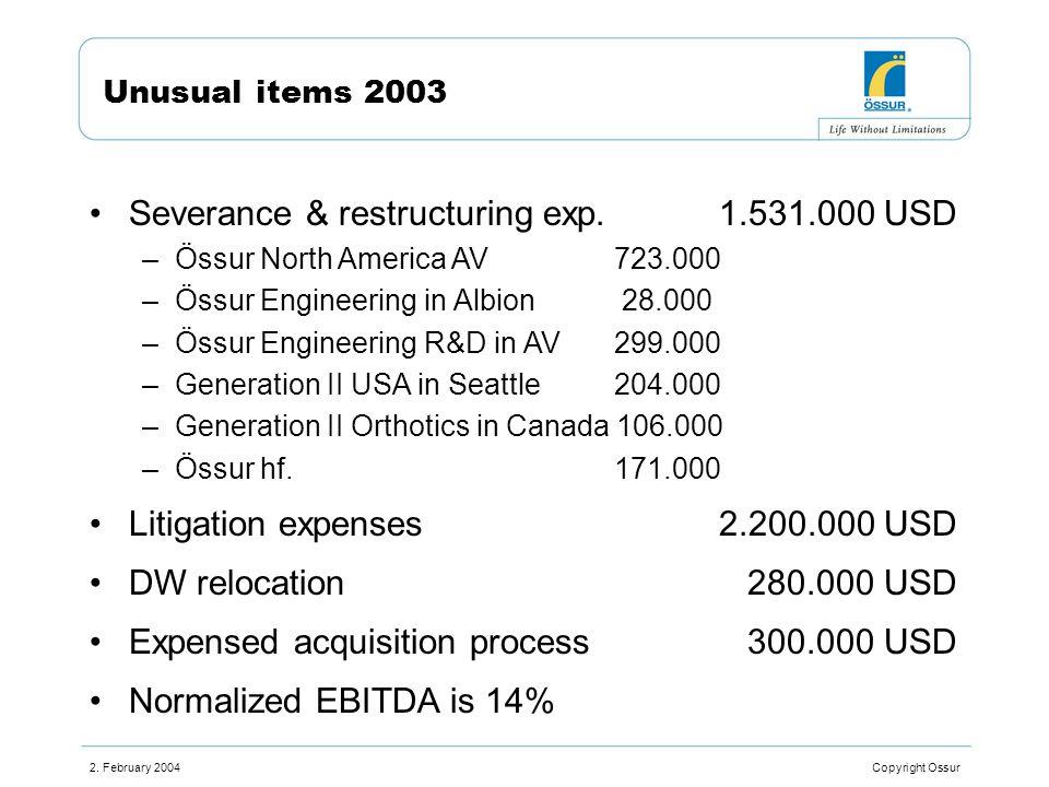 2. February 2004 Copyright Ossur Unusual items 2003 Severance & restructuring exp.1.531.000 USD –Össur North America AV723.000 –Össur Engineering in A
