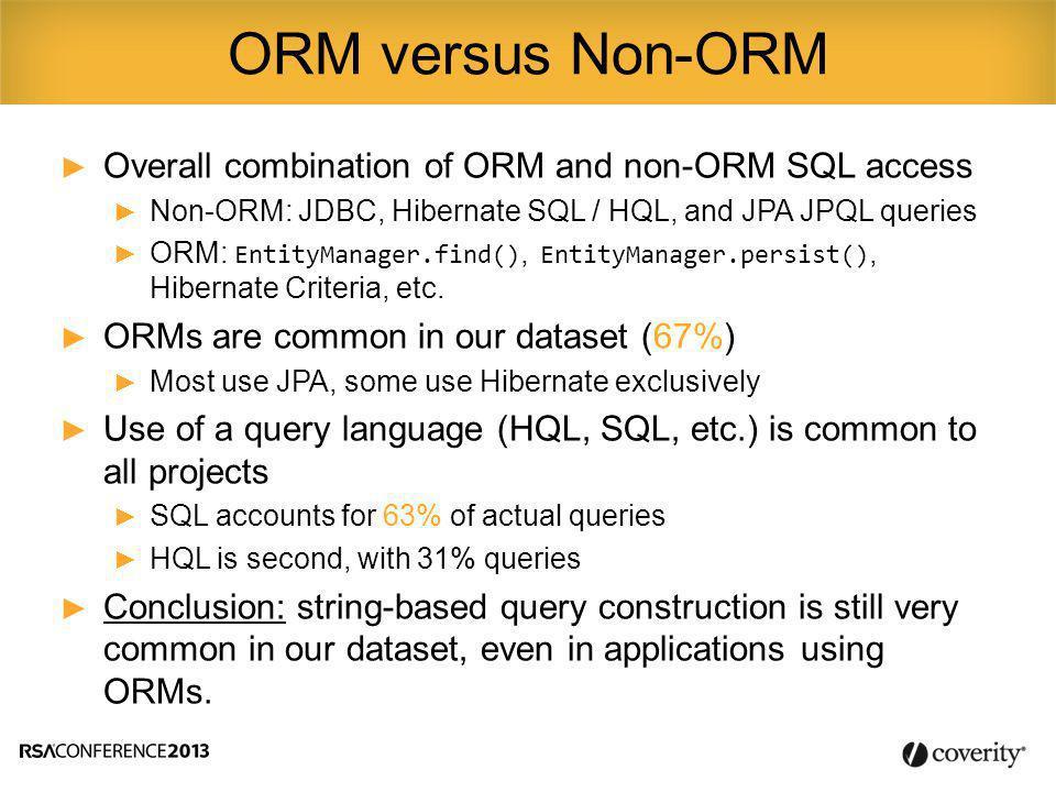► Overall combination of ORM and non-ORM SQL access ► Non-ORM: JDBC, Hibernate SQL / HQL, and JPA JPQL queries ► ORM: EntityManager.find(), EntityManager.persist(), Hibernate Criteria, etc.
