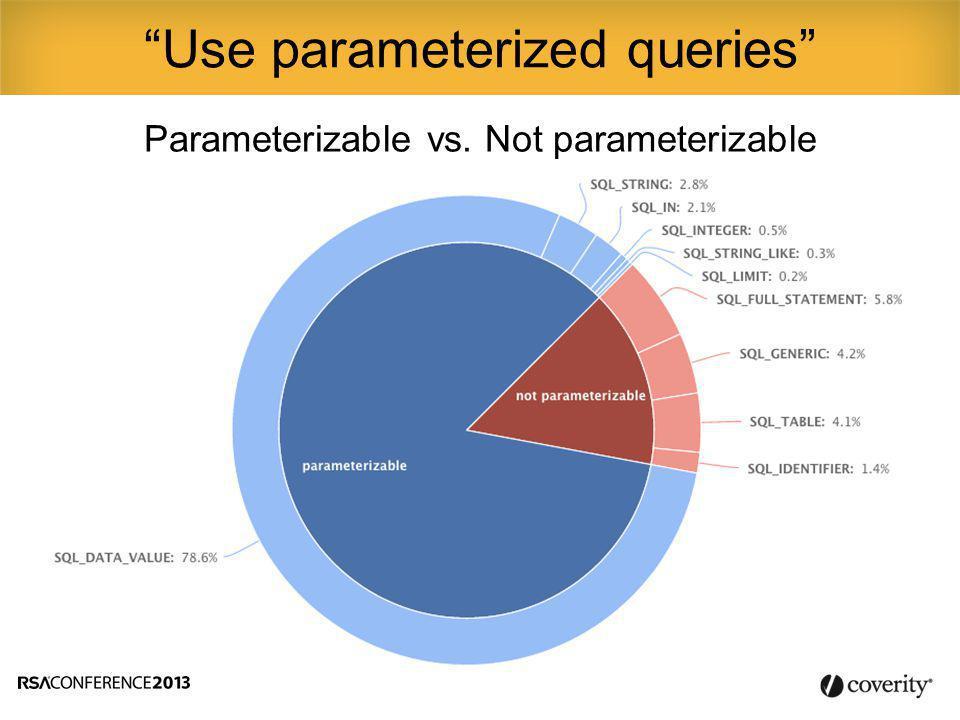 Parameterizable vs. Not parameterizable Use parameterized queries