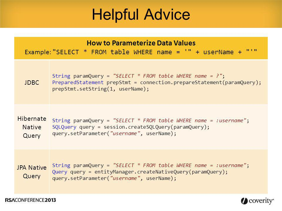How to Parameterize Data Values Example: SELECT * FROM table WHERE name = + userName + JDBC String paramQuery = SELECT * FROM table WHERE name = ; PreparedStatement prepStmt = connection.prepareStatement(paramQuery); prepStmt.setString(1, userName); Hibernate Native Query String paramQuery = SELECT * FROM table WHERE name = :username ; SQLQuery query = session.createSQLQuery(paramQuery); query.setParameter( username , userName); JPA Native Query String paramQuery = SELECT * FROM table WHERE name = :username ; Query query = entityManager.createNativeQuery(paramQuery); query.setParameter( username , userName); Helpful Advice