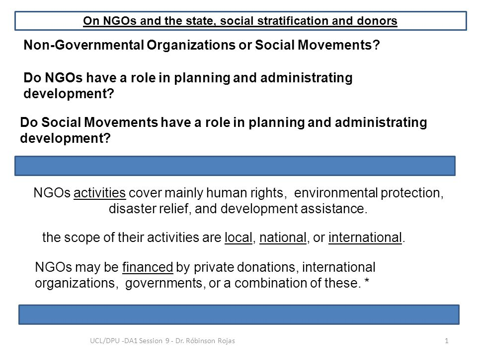 Non-Governmental Organizations or Social Movements? NGOs activities cover mainly human rights, environmental protection, disaster relief, and developm